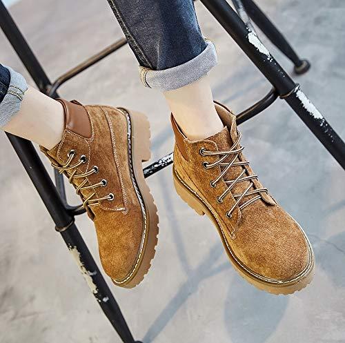 Cuir LIANGXIE en en Femmes Femmes Bottes pour Martin Bottes Travail Chaussures Warm De en Forme pour Air Bottes Plein Bottes Bottes pour Plate Souples Cuir Wild en Cuir Marron Boots Bottes Rétro Femmes xPqwYPrR