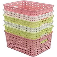 """Fiaze Woven Plastic Storage Baskets, 10.03"""" x 7.55"""" x 4.09"""" , Set of 6"""