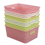 Fiaze Woven Plastic Storage Baskets, 10.03'' x 7.55'' x 4.09'' , Set of 6