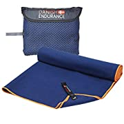 DANISH ENDURANCE Microfibre Travel & Sports Towel 1 Pack, Quick-Dry, Ultra Absorbent, Lightweight