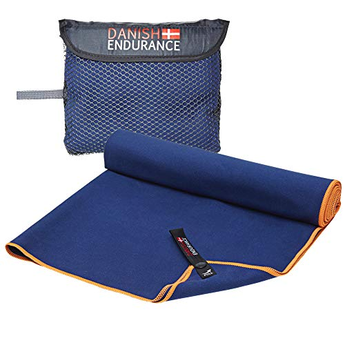DANISH ENDURANCE Microvezel Reisen Sporthanddoek, 1-Pak, Sneldrogend, Ultra Absorberend, Lichtgewicht, Ideaal voor…