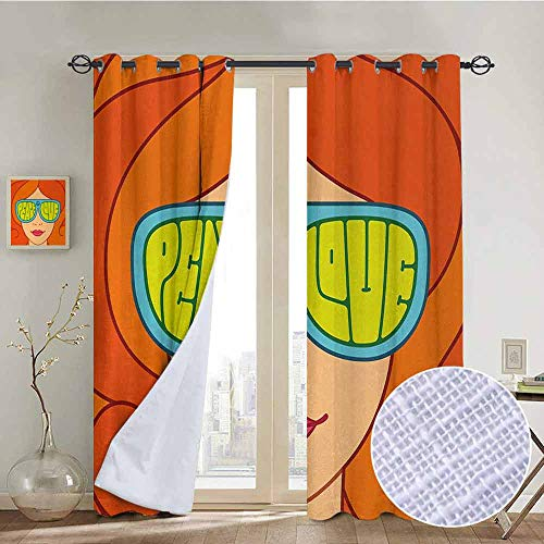 Blackout Curtains 70s Party,Red Haired Girl with Sunglasses Retro Typography Hippie with Love and Peace Print,Multicolor,Thermal Insulated Panels Home Décor Window Draperies for Bedroom a54
