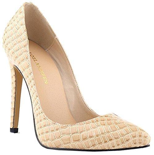 Sexy Pumps Damen-Krokodil-Korn-Muster spitz High Heels Stilettos aprikose