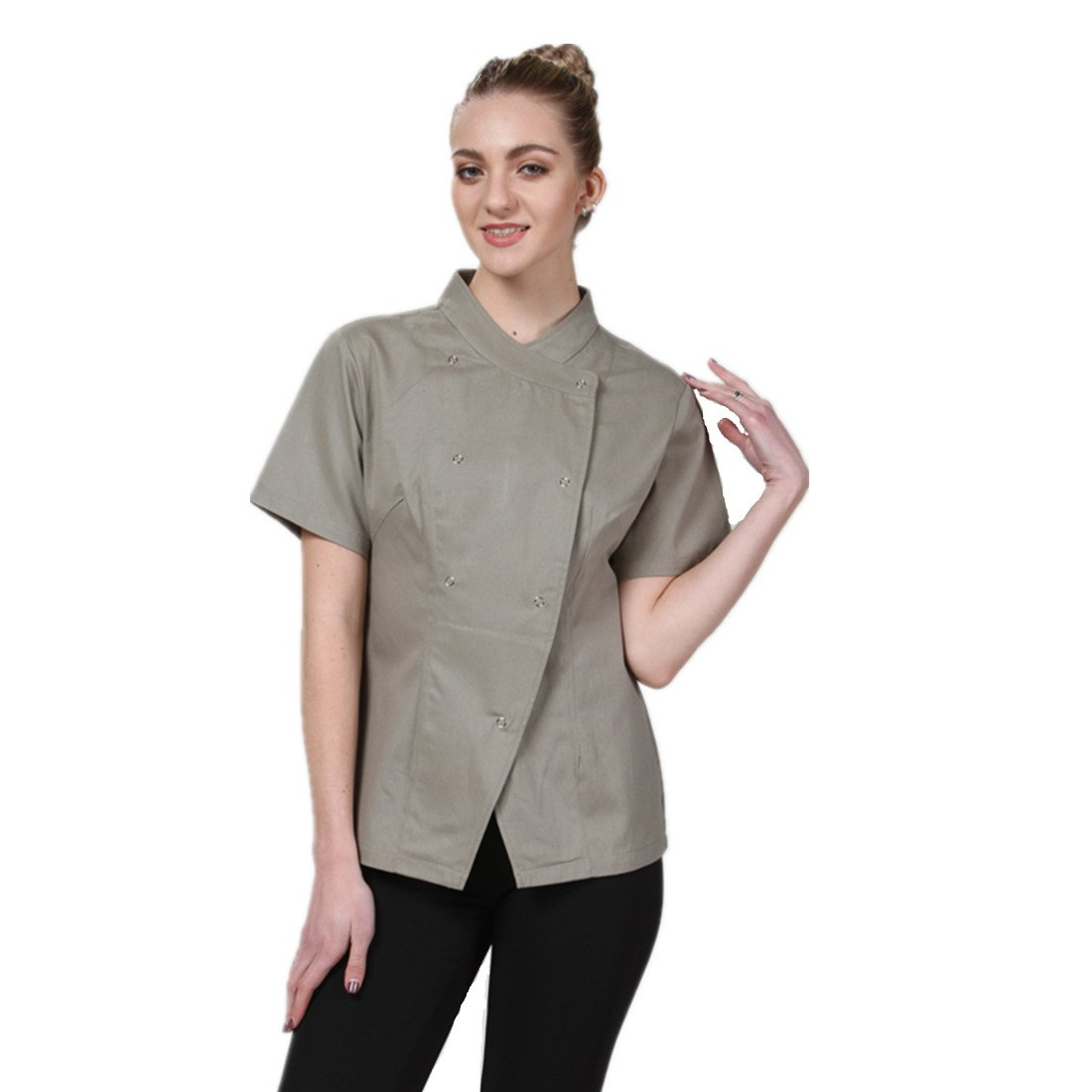 JXH Chef Uniforms Women's Long Sleeve Chef Coat Brown Blue and Olive