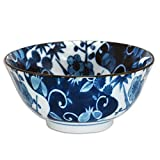 2 Pieces of 6'' Diameter Japanese Porcelain Blue Shikunshi Floral Rice Soup Bowls