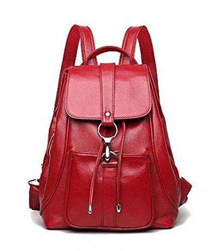 Bolsa de Dama de cuero bolso de cuero bolso mochila de ocio de gran capacidad, 25*13*32cm, marrón Vino Rojo