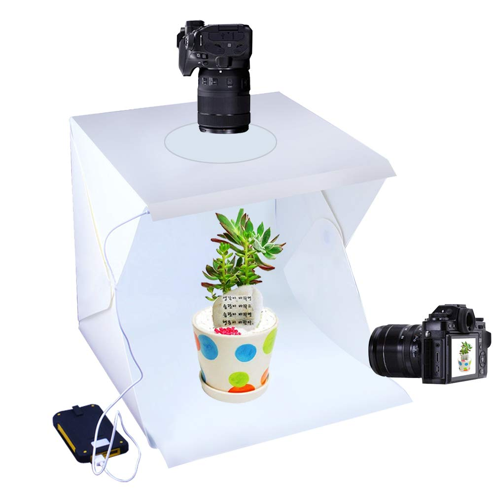 Photo Studio Tent Jewelry Light Box Kit, Portable Foldable Home Photography Studio Light Box Booth Shooting Tent with LED Light Strips - with 2 Color Background (30x30x30cm Photo Studio)