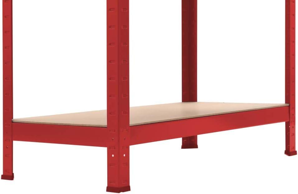 vidaXL Estanter/ía de Acero y MDF Almacenamiento Orden Econom/ía Industrial Complemento Cocina Despensa Cuarto de Lavadora Garaje 80x40x180 cm Rojo