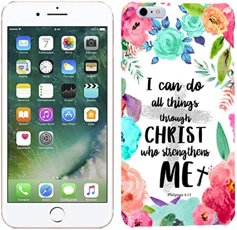 [TeleSkins] – iPhone 6 Plus / 6S Plus Case – I can do All Things Through Christ who Strengthens me Philipians 413 Designer Case – Ultra Durable Slim Fit, Protective Soft Plastic Snap On Back Cover