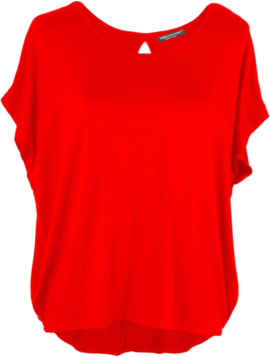 Basic Sommer T-Shirt//Oberteile Kurzarm Made In Italy - Damen Emma /& Giovanni