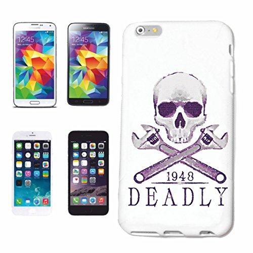 """cas de téléphone iPhone 7 """"DEADLY BIKER SHIRT MOTO CHOPPER MOTO GOTHIQUE SKULL MOTO CLUB BIKE ROUTE 66"""" Hard Case Cover Téléphone Covers Smart Cover pour Apple iPhone en blanc"""