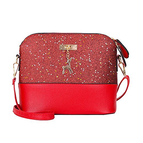 KIMODO Crossbody Bag Deer Shoulder Bags Messenger Bag Womens Leather Sequins Small Backpack Red