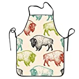 Novelty Bison Unisex Kitchen Chef Apron - Chef Apron For Cooking,Baking,Crafting,Gardening And BBQ