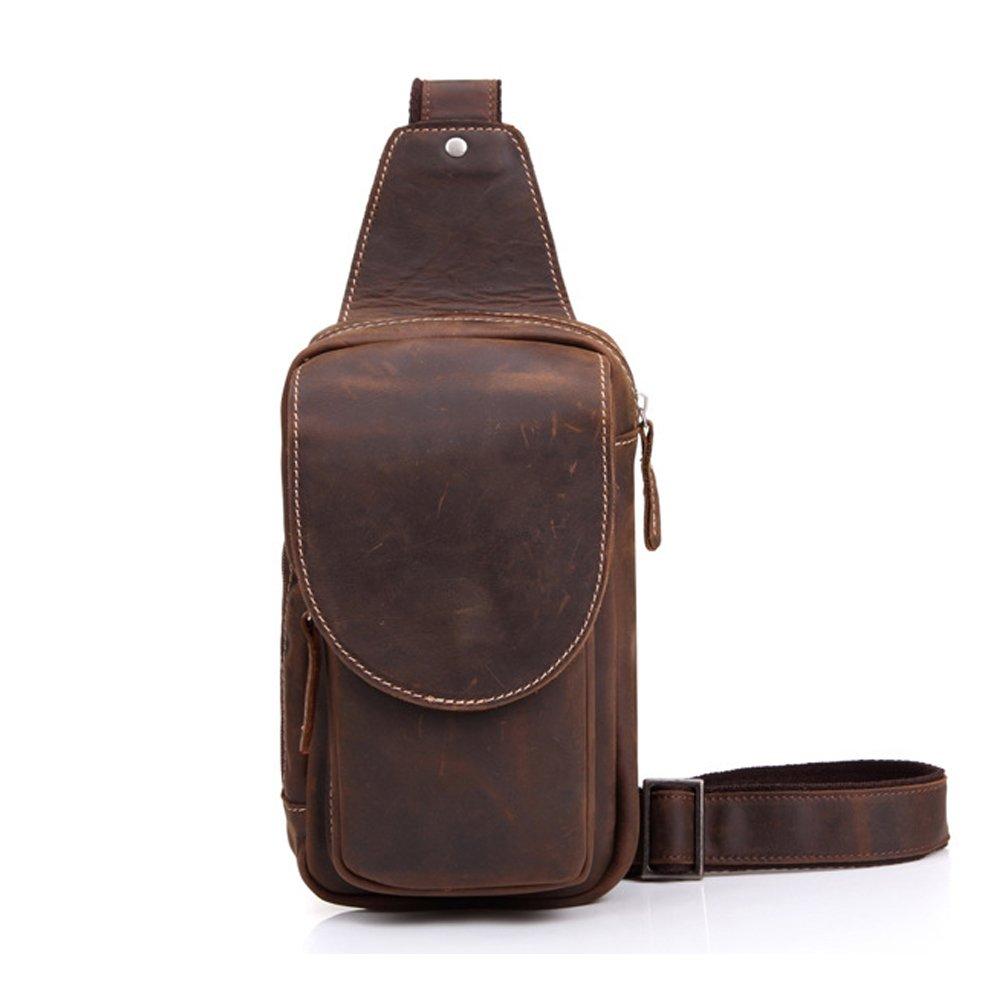 Gendi Herren Echtes Kuhleder Sport Wandern Reise Cross Chest Schulter Daypack Handtasche Umh/ängetasche