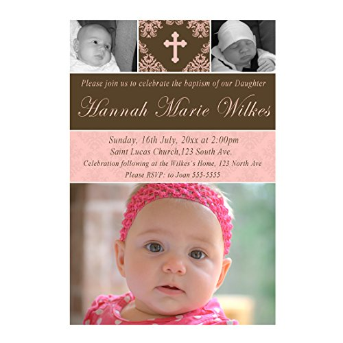 (30 Invitations Personalized Girl Baptism Christening Pink Brown With Photos Photo Paper)