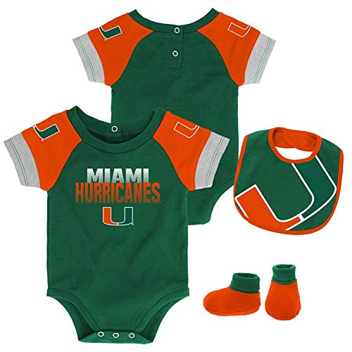 Outerstuff Infant University of Miami Hurricanes Creeper Set Baby Snapsuit Set (18 M)