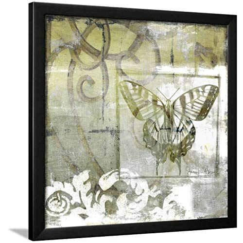 ArtEdge Non-Embld. Butterfly & Ironwork III by Jennifer Goldberger, Wall Art Framed Print, 24x24, Black Unmatted