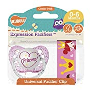 Ulubulu Princess Pacifier with Universal Pacifier Clip, 0-6 months