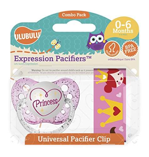 - Ulubulu Princess Pacifier with Universal Pacifier Clip, 0-6 Months