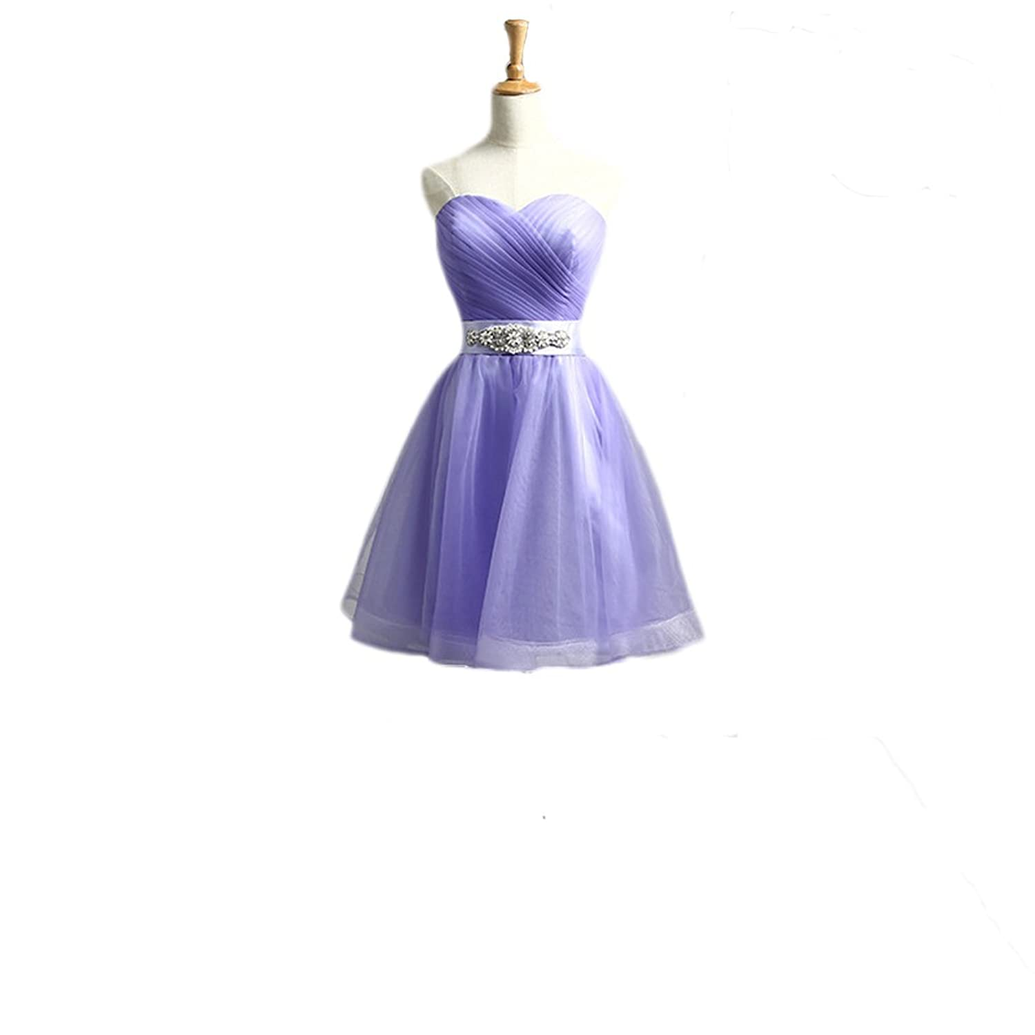 Vimans Women's Short Lavender Sweetheart Pleated Beaded Evening Party Dresses