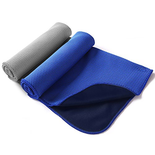 Cooling Towel Summer Ice Cooling Sweat Sports Towel Absorption Quick-Dry Towel Microfiber Sport Equipment Fabric Running Gym Fitness Yoga Climbing Exercise Outdoor Ultraviolet Proof 2-in-1 Pack-Blue