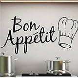 Sticker Bay Sticker mural pour la cuisine Inscription Bon Appétit avec inscription Noir