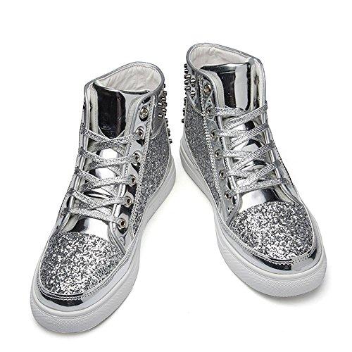 JACKSHIBO Unisex-Erwachsene Mid Freizeitschuhe Herren Damen Hohe Flats Sportschuhe Sneaker Silber
