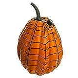 12''Hx8''W Artificial Weighted Spider Web Pumpkin w/Spider -Orange/Black (pack of 4)
