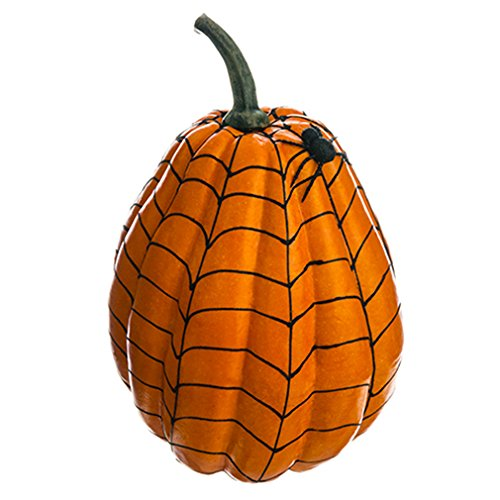 12''Hx8''W Artificial Weighted Spider Web Pumpkin w/Spider -Orange/Black (pack of 4) by SilksAreForever