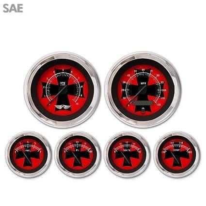 Black Modern Needles, Chrome Trim Rings, Style Kit DIY Install Aurora Instruments 4468 Iron Cross Red SAE 6-Gauge Set with Emblem