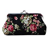 Wallet,toraway Retro Womens Flower Long Wallet Coin Purse Clutch Handbag (Black)