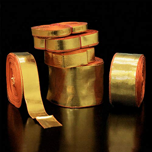 Embroidery Trim Lace Ribbon Gota Laces Borders Material for Dresses Clothes Apparels Saree Blouses Making Purpose Gold Color (45 Meter)