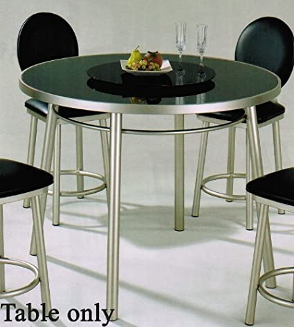 Amazon Com Counter Height Dining Table With Glass Top In Silver