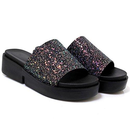 Donna Scarpe Black Pantofole Aperta TAOFFEN Punta AqwA0U
