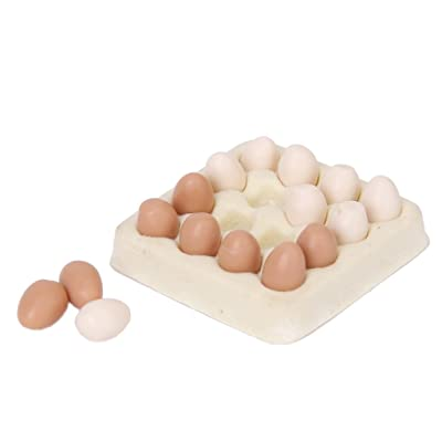 JVSISM Huevo en Miniatura de casa de munecas 1/12 Carton con 16pzs Huevos casa de munecas: Juguetes y juegos