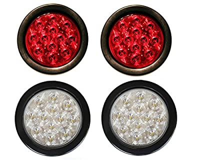 "2 Red + 2 White 4"" Round Led Stop Turn Tail Back-up Reverse Fog Lights Include Lights Grommet Plug for Truck Trailer RV"