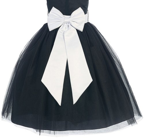 Satin Preformed Bow Adjustable Sash Belt White L / Girls 7-12