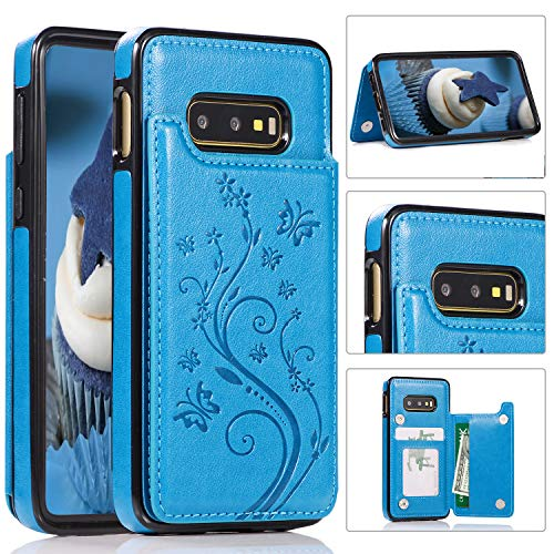 Galaxy S10e Card Holder Case, Akimoom Designed Butterfly Embossed Double Magnetic Clasp Leather Kickstand Card Slots Protective Skin Case Cover for Samsung Galaxy S10e 2019 Release(Blue)