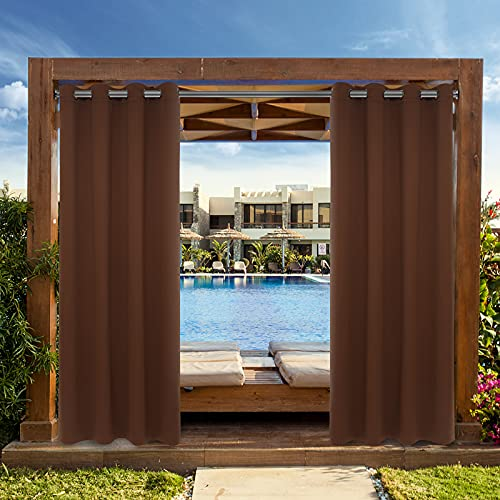 Drewin Outdoor/Indoor Curtains Waterproof 1 Panel Windproof Weather Resistant Blackout Curtain Privacy Drapes Porch Gazebo Cabana Pergola Swimming Pool Sunroom Decor, Brown 52x95 Inches