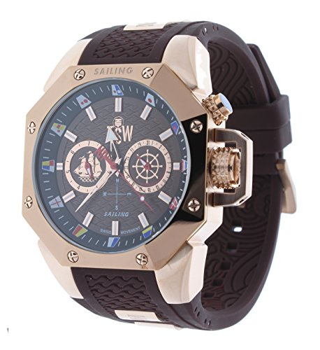 Technosport TS-100-SAIL4 Men's Watch Rose Gold/Brown Sailing Swiss Day/Date Movement
