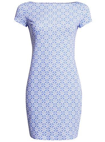 Ultra oodji Femme Bateau 1075o Robe Col Moulante Bleu fCwdqCvn