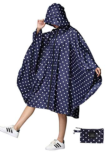 Women Rain Poncho Stylish Polyester Waterproof Raincoat Free Size with Hood Zipper Styles (Deepblue Polka Dots) (Ladies Rain Poncho)