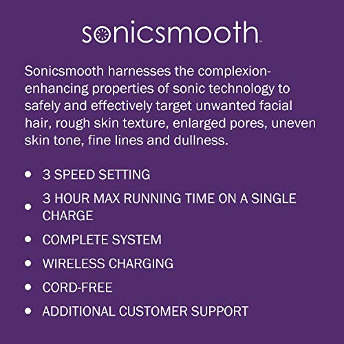 Michael Todd Beauty Sonicsmooth Sonic Dermaplaning Device for Exfoliation  Peach Fuzz Removal with 8