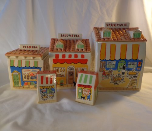 - OMNIBUS Fitz and Floyd 1993 Italian Village Canister Set (Rare)