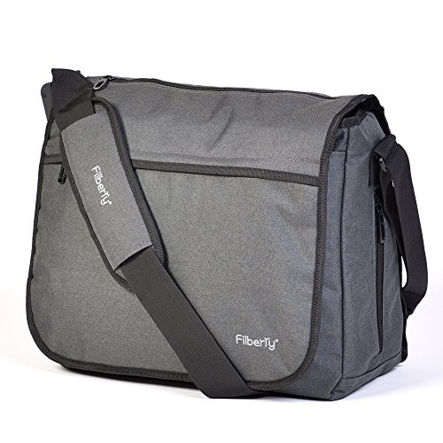 Filberry Messenger Diaper Bag for DADS & Moms to Share Baby Care! - Top Zipper for Easy Access - Large - Grey/Black – Men Love it! - Route Insulated Baby Bottle