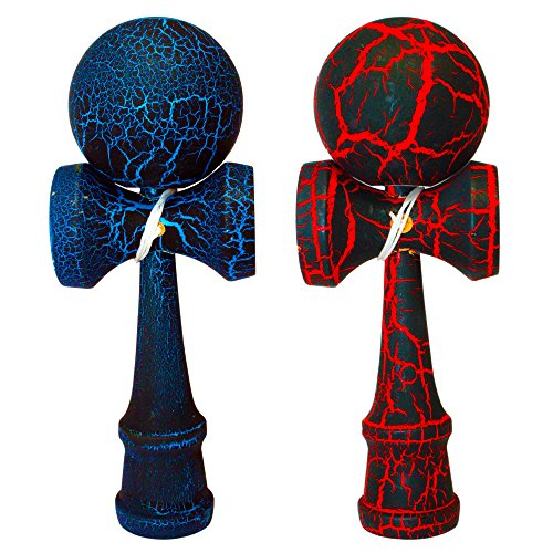 2 PACK - The Best Kendama For All Kinds Of Fun (full size) - 2-Pack - Awesome Colors: Red/Black Crackle and Blue/Black Crackle -Solid Wood - A Tool To Create Better Hand And Eye Coordination - KENDAMA TOY CO. (Solid Wood Huge)