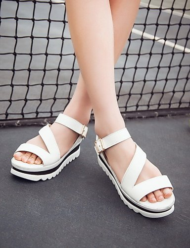 ShangYi Women's Shoes Leatherette Wedge Heel Platform / Slingback / Gladiator / Creepers / Comfort / Novelty / Ankle Strap / White 6DnSJS6wXt