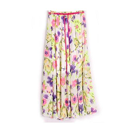 Kaxuyiiy Donne Boemia estate fiore farfalla partito spiaggia elastico in vita maxi gonna a pieghe lunga Long Skirt Viola Rosso Girasole