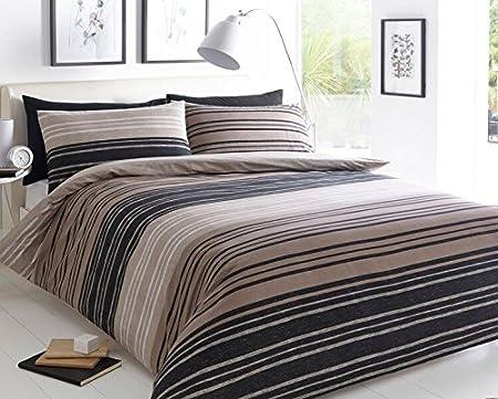 Delightful Pieridae Textured Stripe Brown Duvet Cover U0026 Pillowcase Set Bedding Quilt  Case Single Double King Super