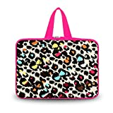 """Colorful Leopard 11.6"""" 12"""" Neoprene Laptop Pure Color Sleeve Case Netbook Outside handle Bag Pouch Cover For 12"""" 11.6"""" inch Apple Macbook Air,Samsung Google 11.6"""" Chromebook,Acer Aspire S7/Acer C7 Chromebook,HP Dell Acer Thinkpad Sony IBM ASUS,Dell Inspiron 11z 1110,12.1"""" Apple iBOOK PC,ASUS Taichi21,Acer Aspire V5,HP EliteBook 2530p,DELL Latitude E6230 XT2 XPS Duo,Lenovo Ideapad"""